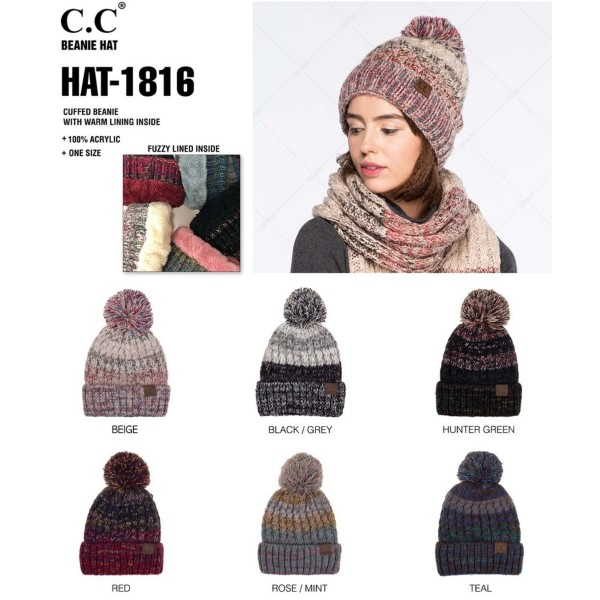 C.C HAT-1816  Chunky ribbed chenille beanie  - 100% Chenille - One size fits most