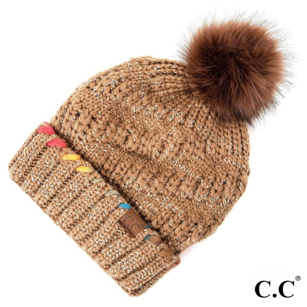 C.C HAT-1826  Ombre dyed accent yarn on cuff with faux fur pom  - 100% Acrylic - One size fits most