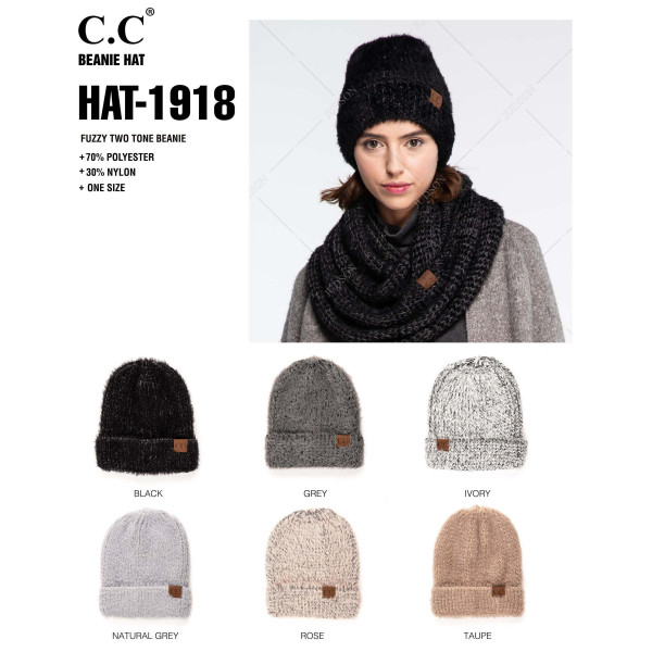 C.C HAT-1918  Fuzzy two tone beanie  - 70% Polyester, 30% Nylon - One size fits most - Matches C.C INF-1918
