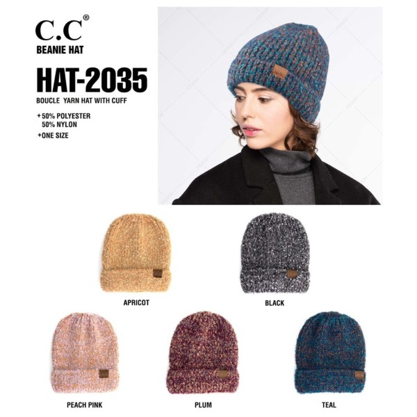 C.C HAT-2035  Boucle yarn beanie with cuff  - 50% Polyester, 50% Nylon - One size fits most