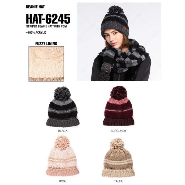 C.C HAT-6245  Striped beanie with pom  - 100% Acrylic - One size fits most