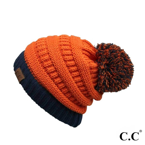 C.C HAT-56 Two tone solid color pom beanie  - One size fits most - 100% Acrylic