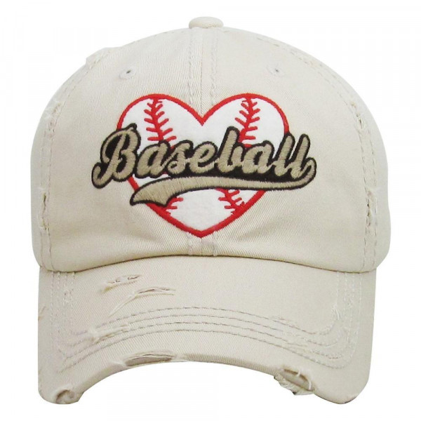 Baseball Heart Embroidered Distressed Vintage Style Baseball Cap.  - 100% cotton - Adjustable back strap - One size fits most