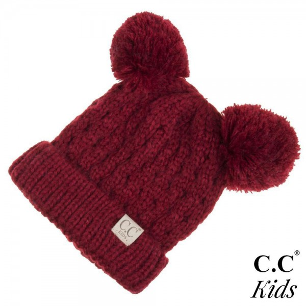 Wholesale c C KID Kids Solid Cable Knit Double Pom Beanie One fits most Kids Acr