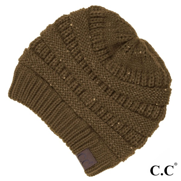 C.C HAT-730 Cable knit sequin beanie  - 100% Acrylic - One size fits most