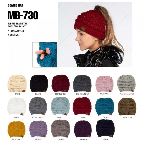 C.C MB-730  Cable knit sequin messy bun beanie  - 100% Acrylic - One size fits most