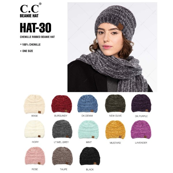 C.C HAT-30 Chenille ribbed beanie   - One size fits most - 100% Chenille