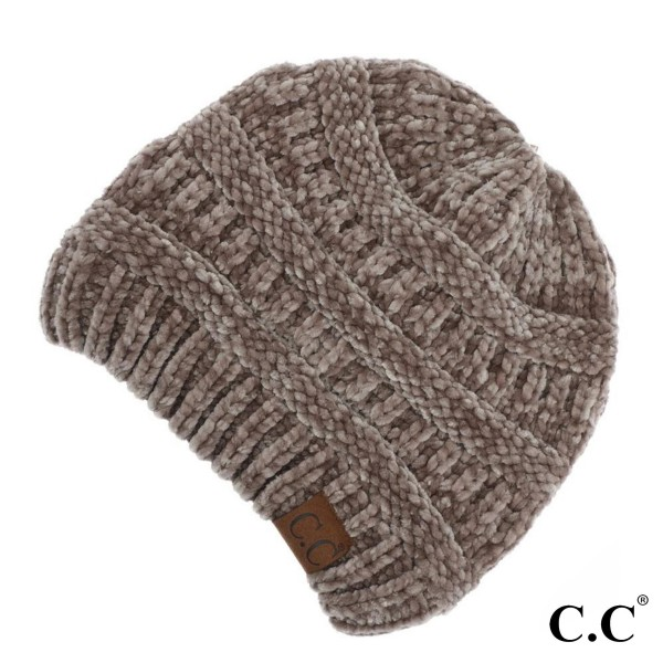 C.C HAT-30 Chenille Knit Beanie  - One size fits most  - 100% Chenille  - One size fits most - 100% Chenille