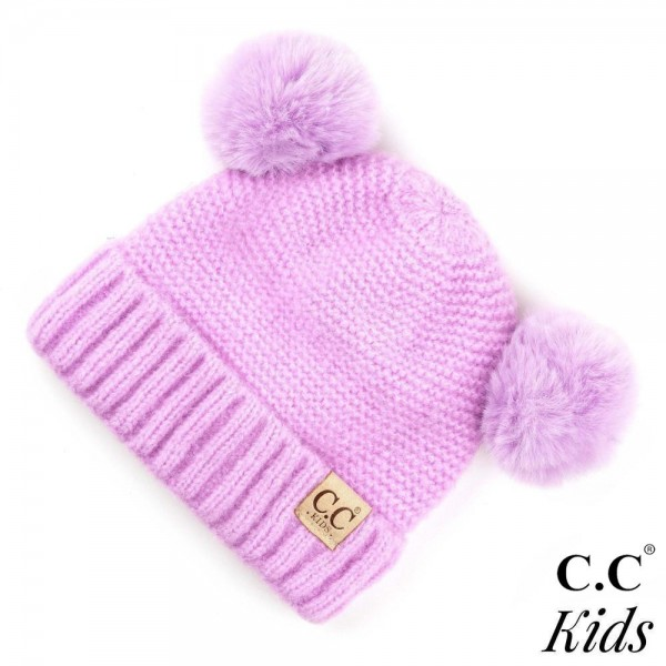 Wholesale c C KIDS Kids Ribbed Knit Solid Double Pom Beanie Polyester Nylon Band