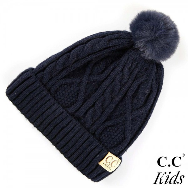 Wholesale c C KIDS Kids Fur Lined Cable Knit Pom Beanie One fits most Kids Visco