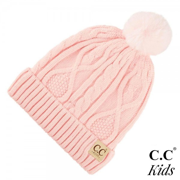 C.C KIDS-28 Kids Fur Lined Cable Knit Pom Beanie   - One size fits most Kids (5-11) - 50% Viscose, 30% Polyester, 20% Acrylic
