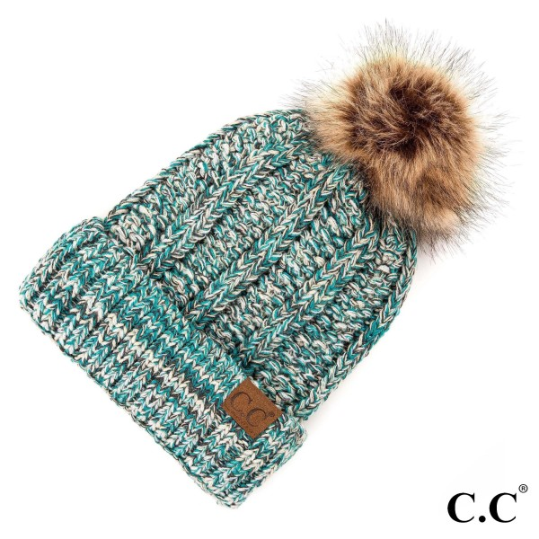C.C YJ-820 MIX  Chunky Knit Fuzzy Lined Faux Fur Pom Beanie.  - 100% Acrylic - One size fits most