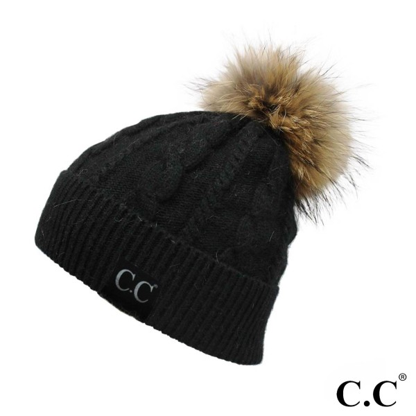 C.C HAT-402 Real raccoon fur pom cable knit beanie  - One size fits most - 20% Angora, 60% Acrylic, 15% Raccoon Fur, 5% Iron