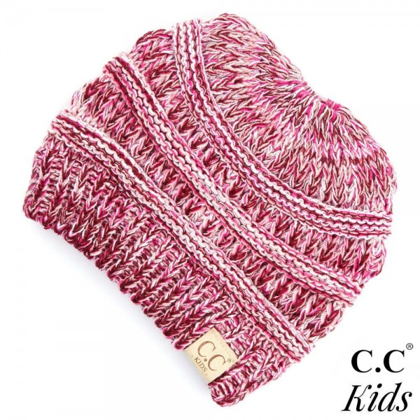 """C.C MB-816KIDS Multicolor messy bun beanie for kids  - 100% Acrylic - Band circumference is approximately:  13"""" unstretched  18"""" stretched - Approximately 7"""" long from crown to band - Fit varies based on child's head height and shape"""