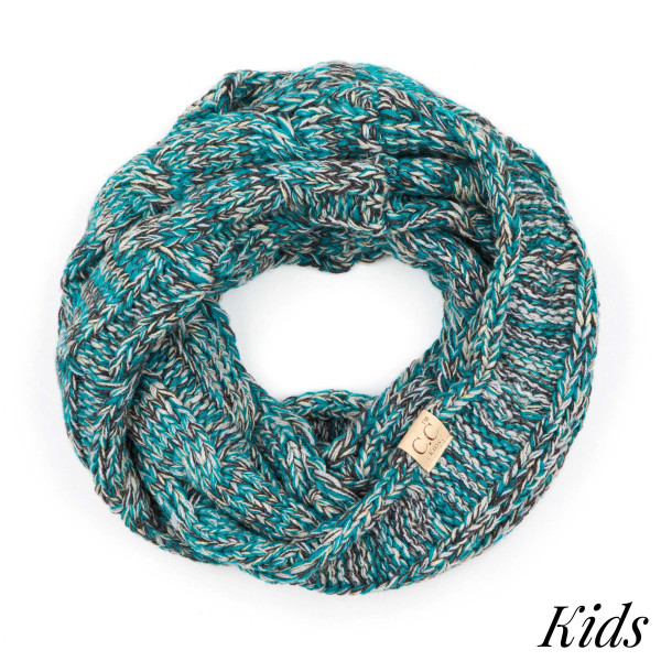 """C.C SF-816 KIDS Multicolor cable knit infinity scarf for kids  - 100% Acrylic - W: 9"""" X L: 51"""""""