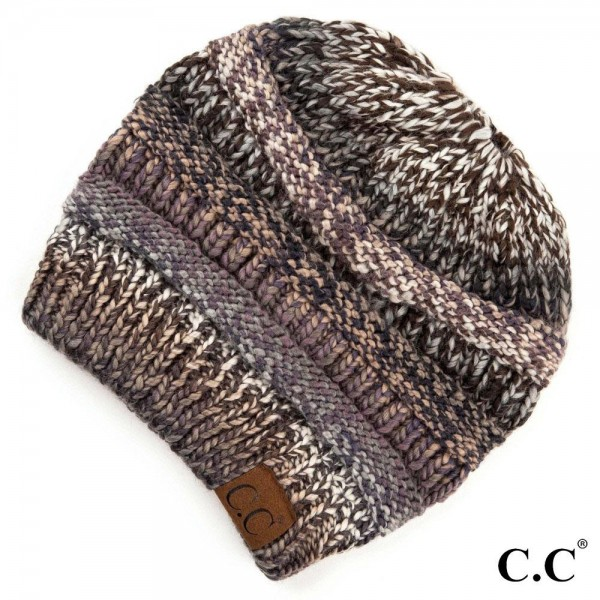 C.C MB-705 Multicolor Knit Messy Bun Beanie  - 100% Acrylic - One size fits most