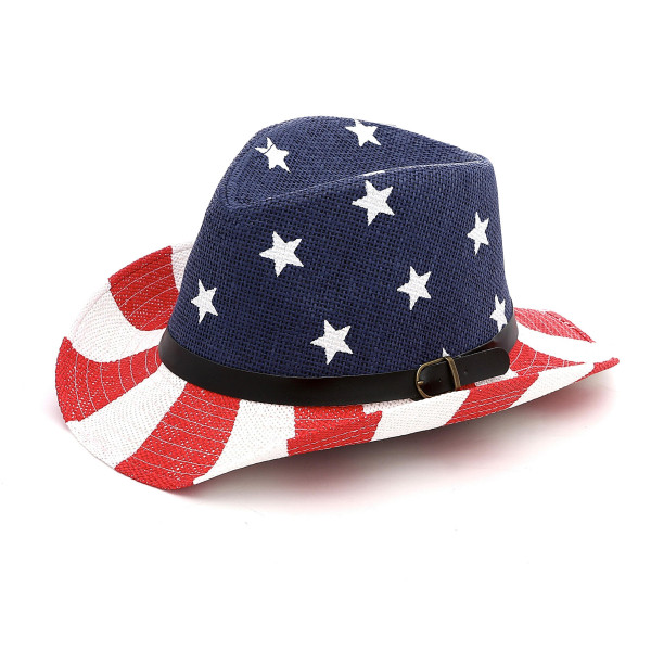 American Flag Paper Straw Fedora Hat.  - One size fits most - 100% Paper