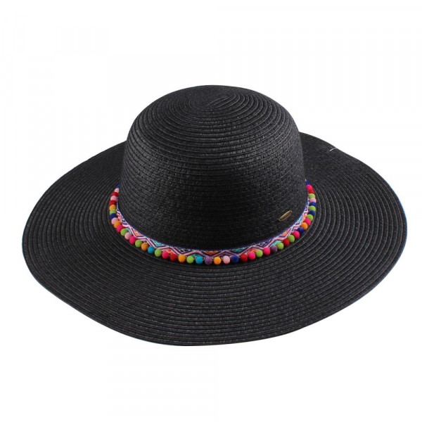 "ST-2022-CC paper straw brim hat with pom pom band. 100% paper + brim size 4:1/2- Head circumference 22"". One size."