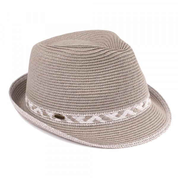 ST-323-CC paper straw fedora hat with zigzag pattern band. 80% paper-20% polyester. One size.