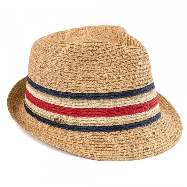 ST-324-CC- straw fedora hat with multi color band. 80% paper- 20% polyester. One size.