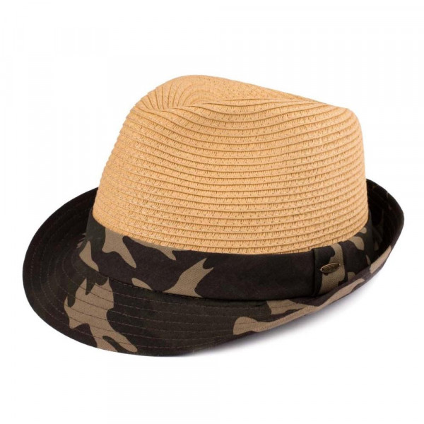 DA-105-CC camouflage fedora hat One size. 80% paper-20% cotton. One size.
