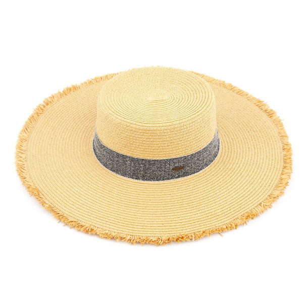 "C.C ST-3007  Frayed edge wide brim straw hat with heather ribbon.  - One size fits most  - Inside adjustable drawstring - Brim width 5""  - 100% Paper"