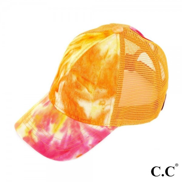 C.C BT-2164 Tie-Dye Trucker Cap with Mesh Back  - One size fits most - Adjustable Velcro Closure - 70% Cotton / 30% Polyester