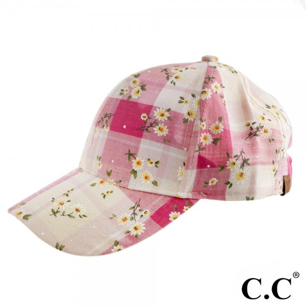 BA-751 C.C. aqua blue plaid baseball cap with floral print. 60% Cotton, 40% Poyester. One size.