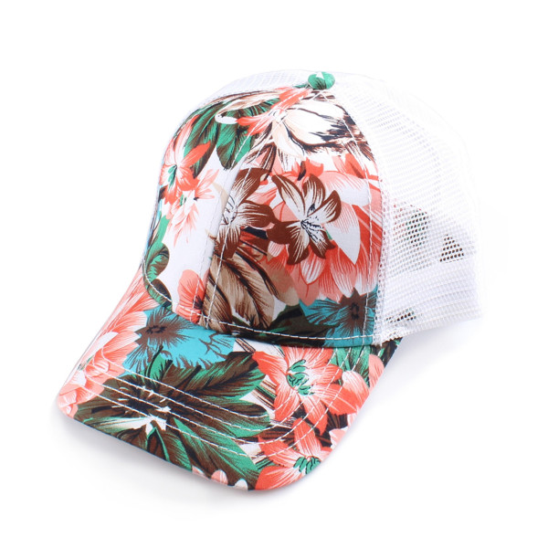 BA-1003 CC-  Flower pattern baseball cap with mesh. 100% polyester.