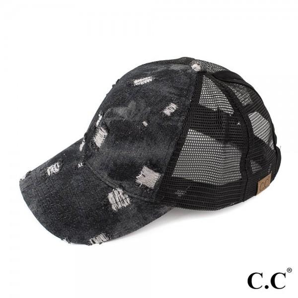 C.C BT-8 Damaged denim trucker ponytail cap with mesh back  - 100% Cotton - Adjustable velcro closure - One size fits most