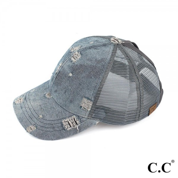 C.C BT-8 Damaged denim trucker ponytail cap with mesh back  - 100% Cotton - Adjustable velcro closure - One size fits most