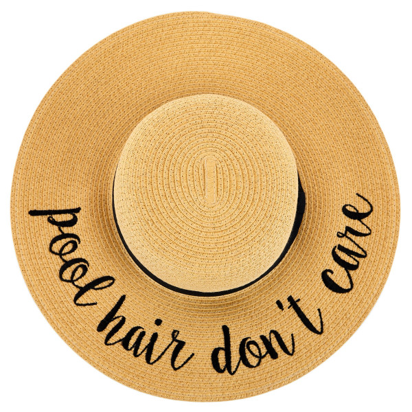 "C.C ST-2017 (Natural) Pool Hair Don't Care paper straw wide brim sun hat with ribbon  - One size fits most - Inside adjustable drawstring - Brim width 4.5"" - 100% Paper"