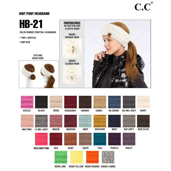 C.C HB-21 Solid Ribbed Knit Ponytail Headband.  - One size fits most - 100% Acrylic