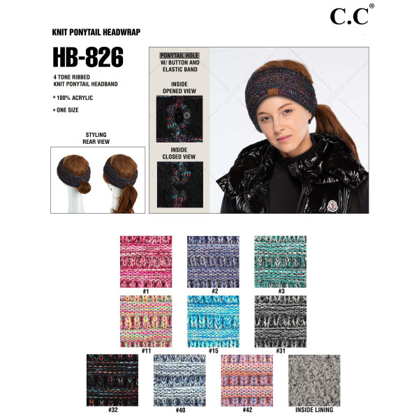 C.C HB-826 Four Tone Ribbed Knit Ponytail Headband.  - One size fits most - 100% Acrylic