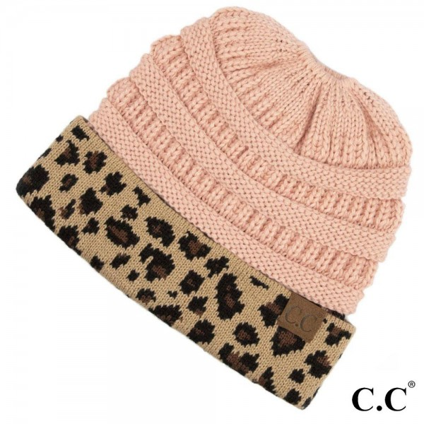 Wholesale c C MB Solid color messy bun beanie leopard print cuff Acrylic One fit