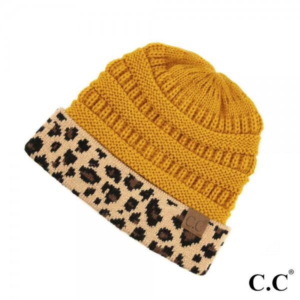 Wholesale c C HAT Solid color beanie leopard print cuff One fits most Acrylic