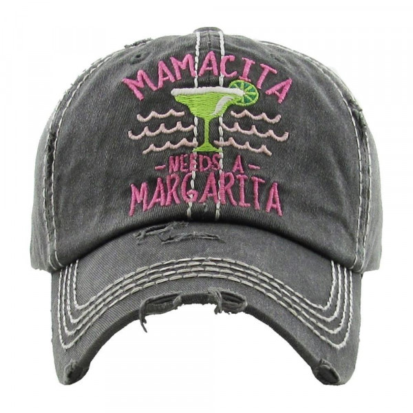 """""""Mamacita Needs a Margarita"""" Embroidered Distressed Vintage Style Baseball Cap.  - One size fits most - Adjustable Velcro Closure - 100% Cotton"""