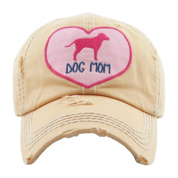 """Heart Embroidered """"Dog Mom"""" Distressed Vintage Style Baseball Cap.  - One size fits most - Adjustable Velcro Closure - 100% Cotton"""