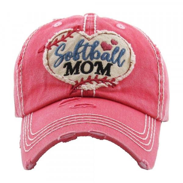 Wholesale softball Heart Embroidered Softball Mom Distressed Vintage Baseball Ca