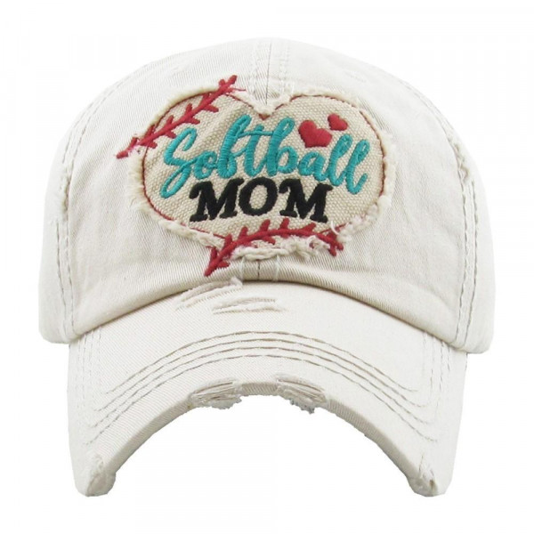 Wholesale softball Heart Embroidered Softball Mom Distressed Vintage Baseball Ca