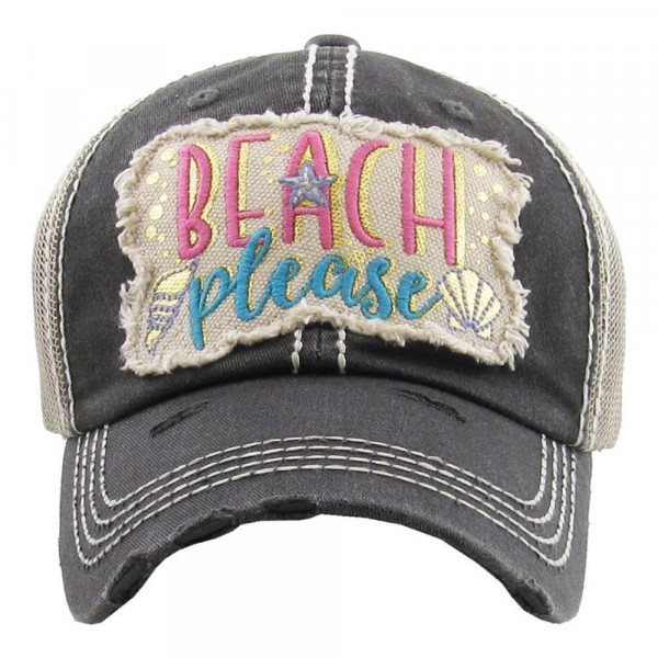 """""""Beach Please"""" Embroidered Vintage Distressed Baseball Cap with Mesh Back.   - 100% Cotton - Adjustable Velcro Closure - One size fits most"""