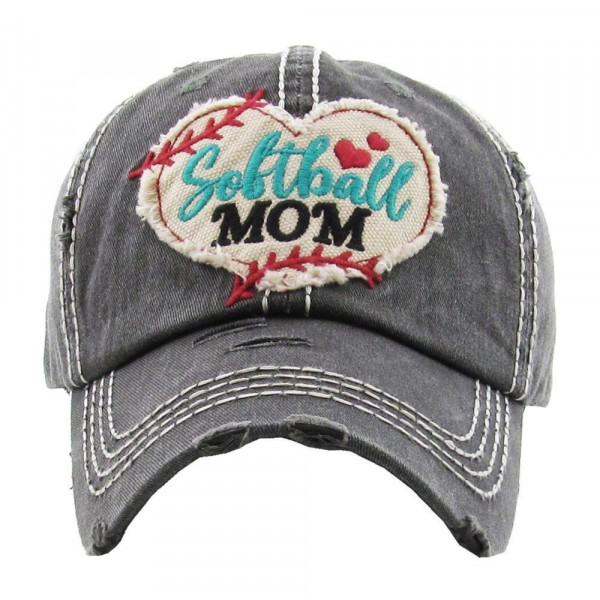 """Softball Heart Embroidered """"Softball Mom"""" Distressed Vintage Style Baseball Cap.  - 100% Cotton - Adjustable Velcro Closure - One size fits most"""