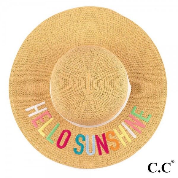 "C.C ST-2017 (Natural)(Multi) Hello Sunshine paper straw wide brim sun hat with ribbon  - One size fits most - Inside adjustable drawstring - Brim width 4.5"" - 100% Paper"