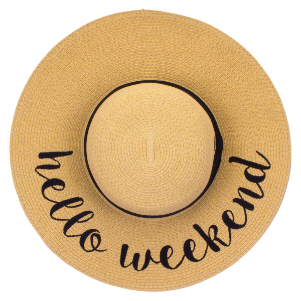 "C.C ST-2017 (Natural) ""Hello Weekend"" paper straw wide brim sun hat with ribbon  - One size fits most - Inside adjustable drawstring - Brim width 4.5"" - 100% Paper"