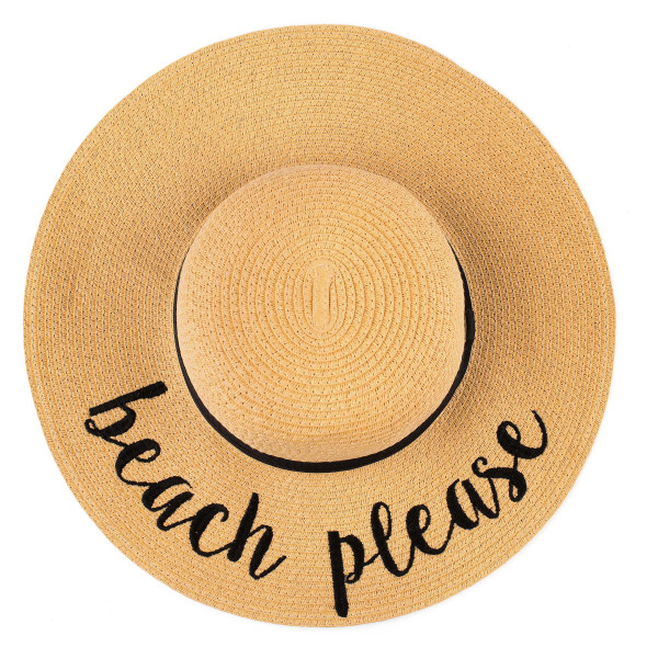 "C.C ST-2017 (Natural) Hello Sunshine paper straw wide brim sun hat with ribbon  - One size fits most - Inside adjustable drawstring - Brim width 4.5"" - 100% Paper"