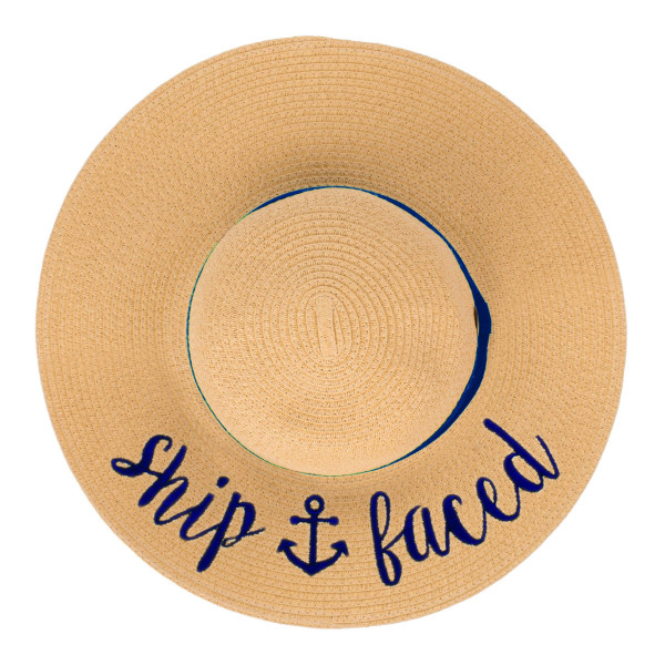 "C.C ST-2017 (Natural)(Navy) Ship Faced paper straw wide brim sun hat with ribbon  - One size fits most - Inside adjustable drawstring - Brim width 4.5"" - 100% Paper"