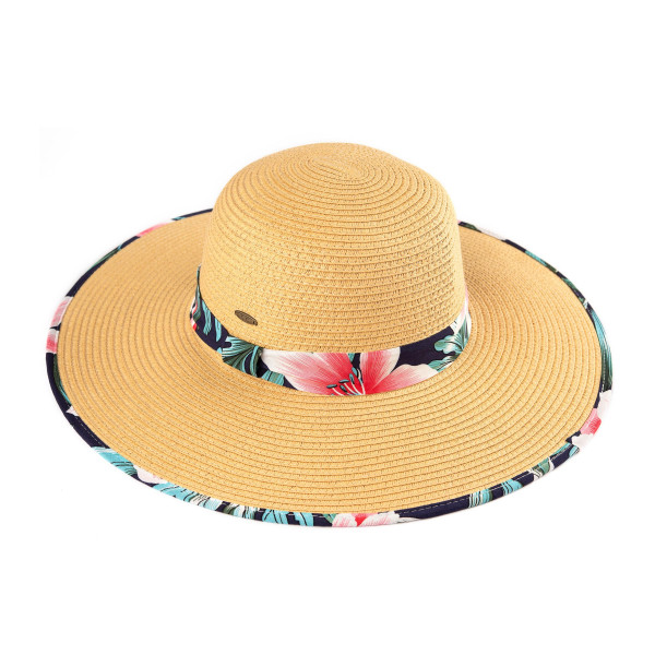 C.C ST-3002 Brim straw hat with floral fabric pattern. Inside adjustable string. One size 20% cotton- 80% paper straw.