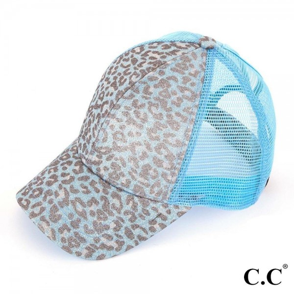 C.C BT-11 Leopard print glitter pony trucker cap with mesh  - 100% Polyester - Adjustable velcro closure - One size fits most