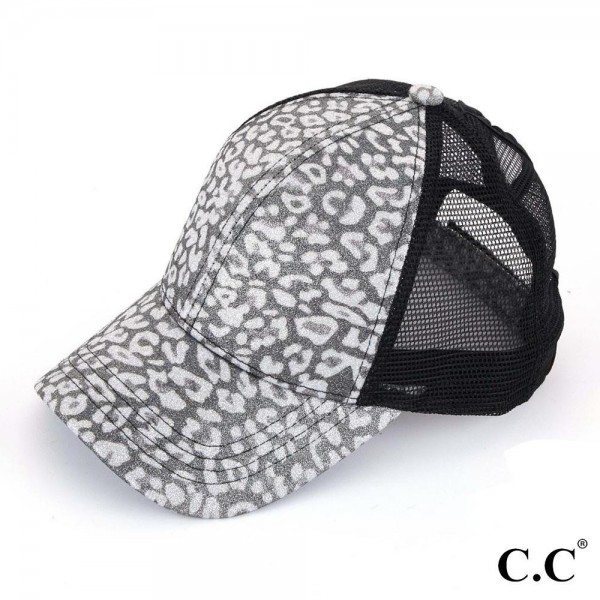 C.C BT-11 Glittery Leopard Print Trucker Cap with Mesh Back  - One size fits most - Adjustable Velcro Closure - 100% Polyester