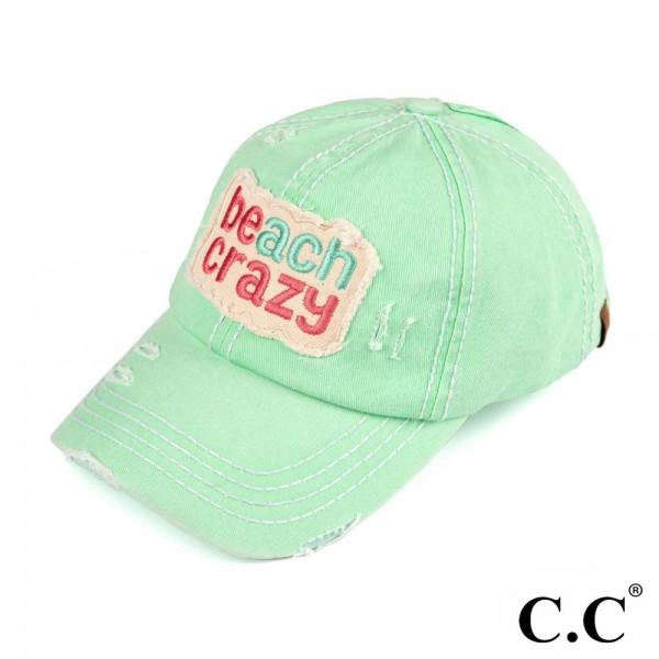 C.C BT-761  Beach Crazy Vintage Baseball Cap   - One size fits most - Adjustable Velcro Closure - 100% Cotton